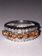 An Impressive Golden Citrine & Diamond Dress Ring in 18K White Gold