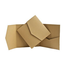 Pocketfold wedding Invitations. Pocket Fold Invites Recycled Brown Natural Kraft