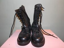 NEW Dead Stock Black Leather Boots with Zipper and Buckle Men's Size 5 E Women 7