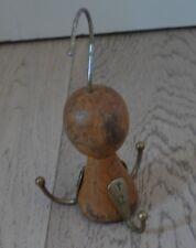 Old Wood Brass Clothes Hanger Octopus italian design rare