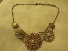 """Accessorize Silver Tone Pink & White Plastic Flower Necklace - 16.5-18.5"""" long"""