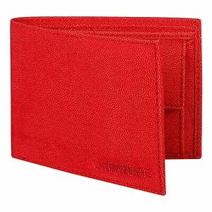 Red Pu-Leather Wallet for Men with Multiple Card Slots/Coin Pocket