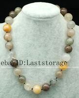 "TOURMALATED QUARTZ  round 16mm necklace 18""  beads wholesale nature discount"