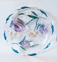"""Mikasa Large Tropical Fish Embossed Round 14"""" Clear Glass Platter Bowl"""
