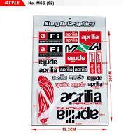 Aprilia Racing Motorcycle Decal Stickers Sheet Car F1 ATV Helmet Dirt Bike Decor