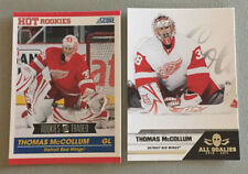 2 Thomas McCollum Cards 2010-11 Score RC #619 & 2011-2 All Goalies #30 Red Wings