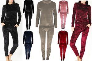 Ladies Women Velvet Velour Top and Jogger 2 Piece Set Loungewear Tracksuit Touse