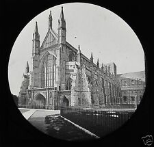 VICTORIAN Glass Magic Lantern Slide WINCHESTER CATHEDRAL EXTERIOR C1890 ENGLAND