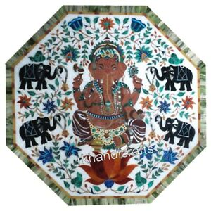 Ganesha Pattern Stone Coffee Table Top Marble Sofa Table Home Furniture 21 Inch