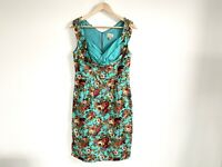 Lindy Bop Dress Size 12 UK Teal Floral Pencil Knee Length