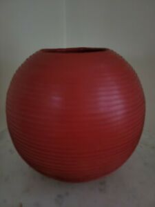 "Crate And Barrel Red Leather Wrapped Red Round Ceramic Vase, 5 -1/2"" high"