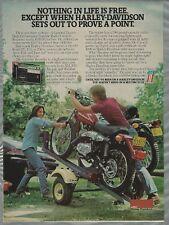1977 HARLEY DAVIDSON advertisement,  lightweight motorcycle, trailer offer