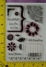 SPRING doily sunflower bracket sentiments button Close to My Heart clear stamps