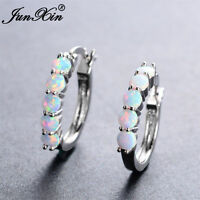 White Fire Natural Opal  Round Hoop Earrings 925 Sterling Silver Pair 5 stone