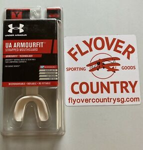 NIB Under Armour Youth (8-11) Armourfit Strapped Mouth Guard White Free Shipping