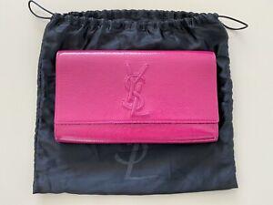 Yves Saint Laurent Belle De Jour Fuchsia Clutch Bag Patent Leather YSL