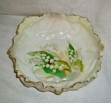 ANTIQUE R S GERMANY WREATH MARK LILY OF THE VALLEY CABBAGE LEAF PORCELAIN BOWL