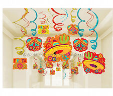30 Mexican Fiesta Sombrero Hanging Swirls Decorations Wild West Birthday Party