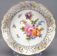 "Carl Thieme Dresden Hand Painted Floral & Gilt Reticulated 10 "" Bowl Circa 1901"