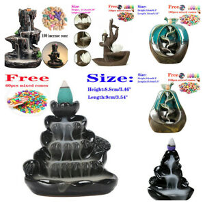 Backflow Ceramic Waterfall Smoke Incense Burner Censer Holder with Cones 9 Style
