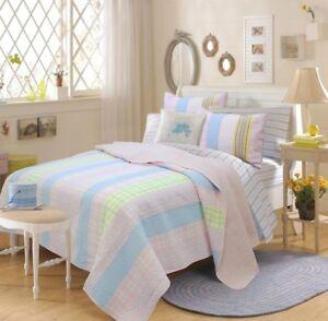 Stripe Pink 100% Cotton Full/Queen Quilt Set, Bedspread, Coverlet