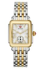 NEW MICHELE DECO 16 MID TWO-TONE MOP DIAMOND DIAL LADIES WATCH MWW06V000042