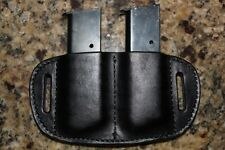 Custom Black Leather Double clip/magazine holster for 1911 Single Stack