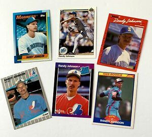 Randy Johnson lot of 6 - 3 1989 rookie cards & 3 2nd year, Mariners, Yankees
