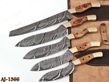 """5""""HAND FORGED DAMASCUS STEEL CHEF KNIFE KITCHEN SET W/Olive Wood & Brass HANDLE"""