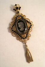 Vintage CARVED BLACK GLASS CAMEO BLACK RHINESTONE PENDANT or Pin W/TASSEL