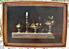 """Original Oil, Listed Artist Jozsef Molnar, Still Life of Mantle, Framed 42 x 30"""""""