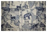 "Richloom Indigo Safari Expedition Printed Linen Drapery Upholstery Fabric 54""W"