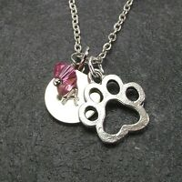 Personalized Paw Necklace with Swarovski Birthstone Crystal Custom Initial Disc