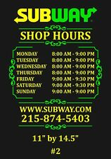 Custom Business Hour Decal Two Colors Add Your Logo 12 Wide