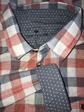 TOM TAILOR Red And Gray Plaid Flip Cuff Shirt Men Large EUC Cotton