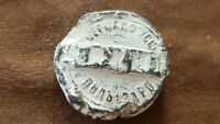 Lovely 1800 hundreds Russian lead bag seal in uncleaned condition. L144f