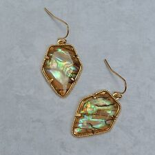 Abalone Earrings // Multi-Colored Stone Drop Arrowhead Shape