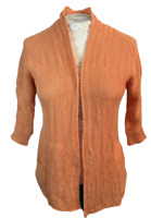 Chicos Size 0 Open Front Linen Cotton Blend Orange Cardigan Sweater Pockets Knit