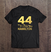 Lewis Hamilton 44 F1 Car Champion Mens T Shirt Gold Size S - 5XL Black