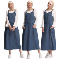 2019 New Spring Women Strappy Denim Strap Dress Long Maxi Overall Jeans Pinafore