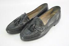 Bally Genuine Tejus Lizard Black Leather Tassle Strap Loafers Shoes 6.5M