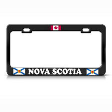 CANADIAN FLAG NOVA SCOTIA BLACK Metal License Plate Frame CANADA Tag Border