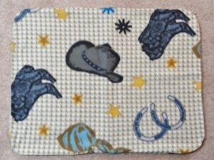 FLEECE STANDARD (TWIN) PILLOW COVER - WESTERN BOOTS, HAT AND HORSESHOES