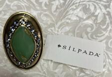 Silpada Botanical Ring Sz 6 KRR0072 Brass Green Resin Swarovski Crystal K&R New