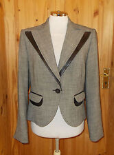 RIANI black grey tweed faux leather trim Steampunk Victoriana suit jacket 12 40