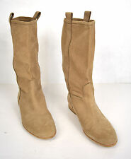 Sartore Boots Bolero Pull-On Slouchy Beige Leather Italy 39 Womens