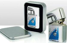 Blue VW Camper Van Metal Windproof LIGHTER in a Volkswagen Tin