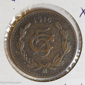 Mexico 1916 5 Centavos key date M0286 combine