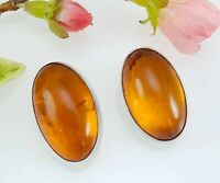 Vintage Large Oval Sterling Silver Amber Clip On Earrings - Signed WR