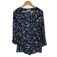Blue Illusion Womens Top Size Medium Long Sleeve Floral Multicoloured Gorgeous